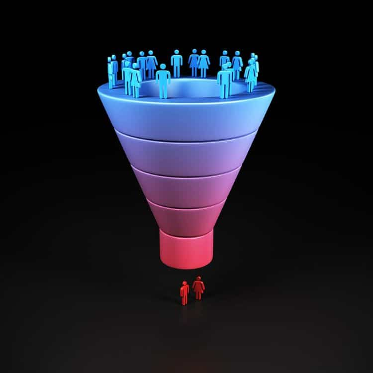Conversion funnel illustration with people on the top and the bottom