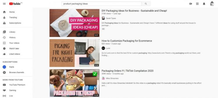 YouTube product packaging ideas search result screenshot