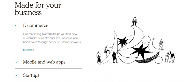Mailchimp for business page screenshot