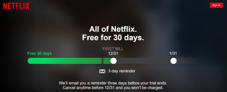 Netflix free trial page screenshot