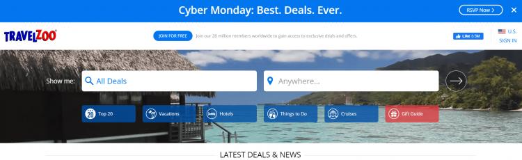 Travelzoo home page screenshot