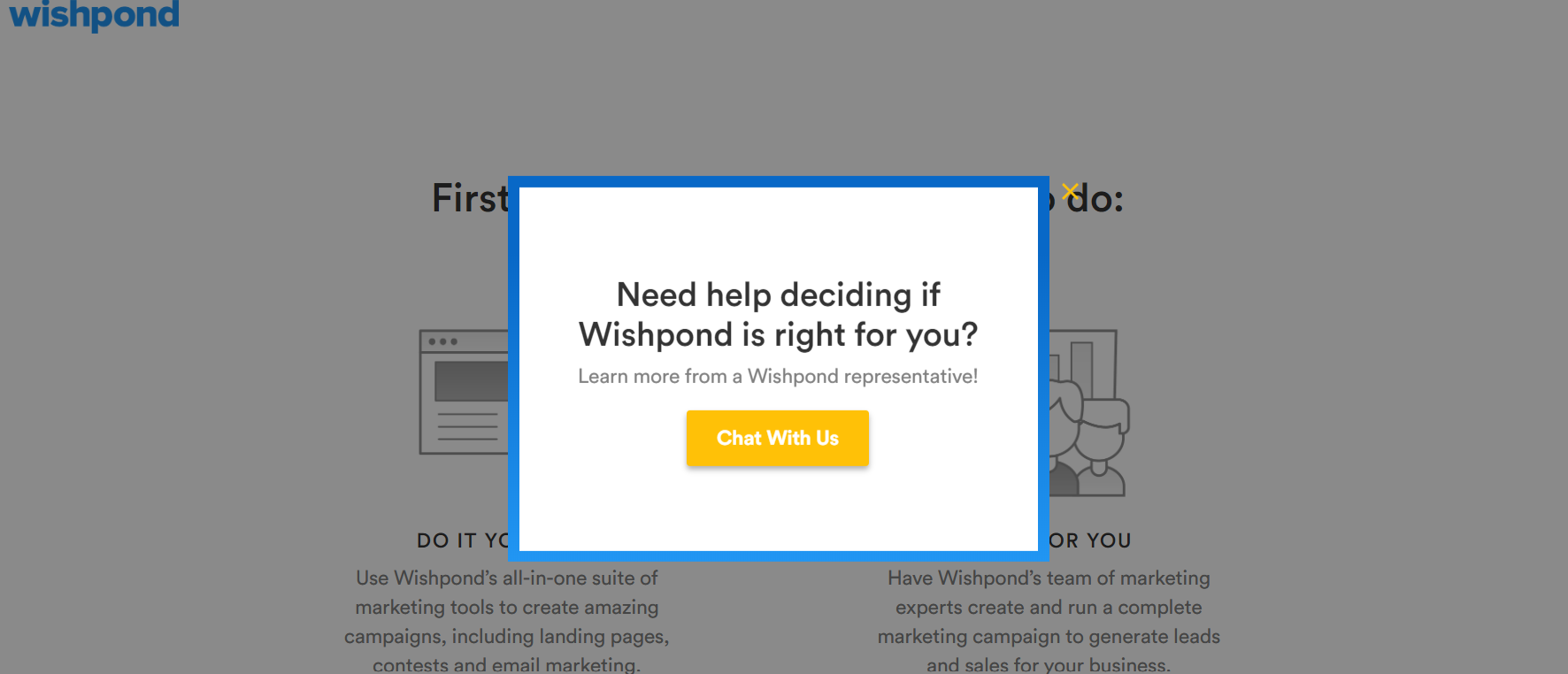 Screenshot of WishPond's exit-intent pop-up