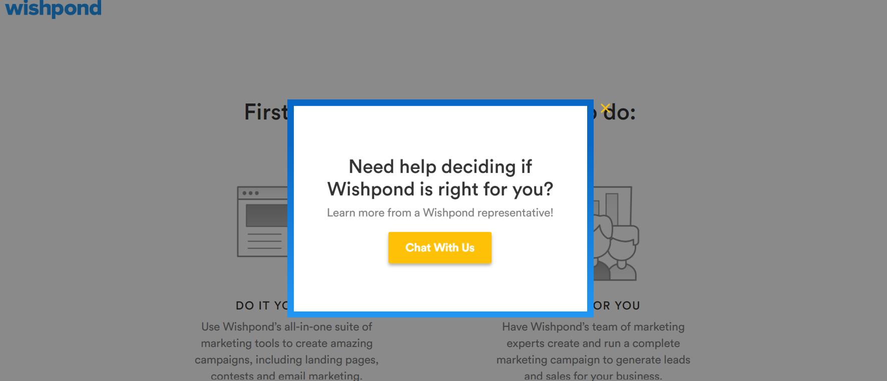 Screenshot of WishPond's exit-intent pop-up