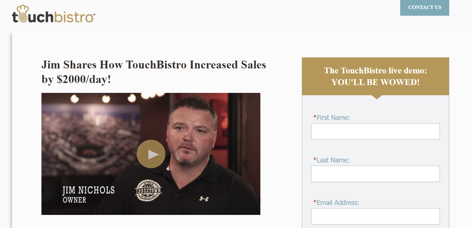 Screenshot of TouchBistro's landing page with video