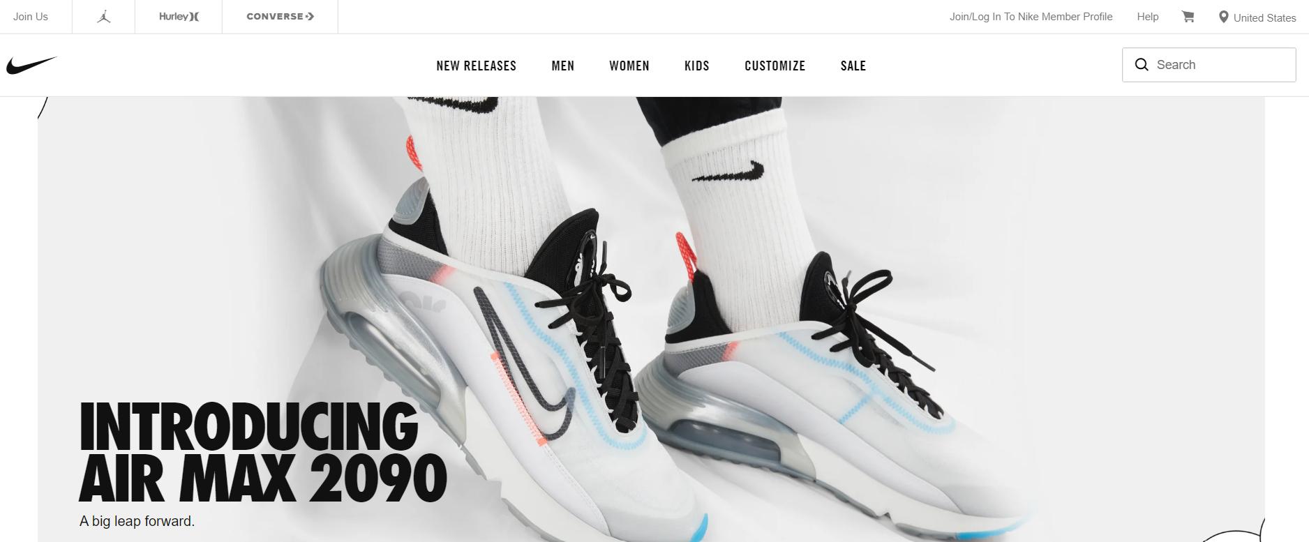 Nike's minimalistic web design