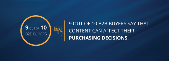 9 out of 10 B2B buyers say that content can affect their purchasing decisions.