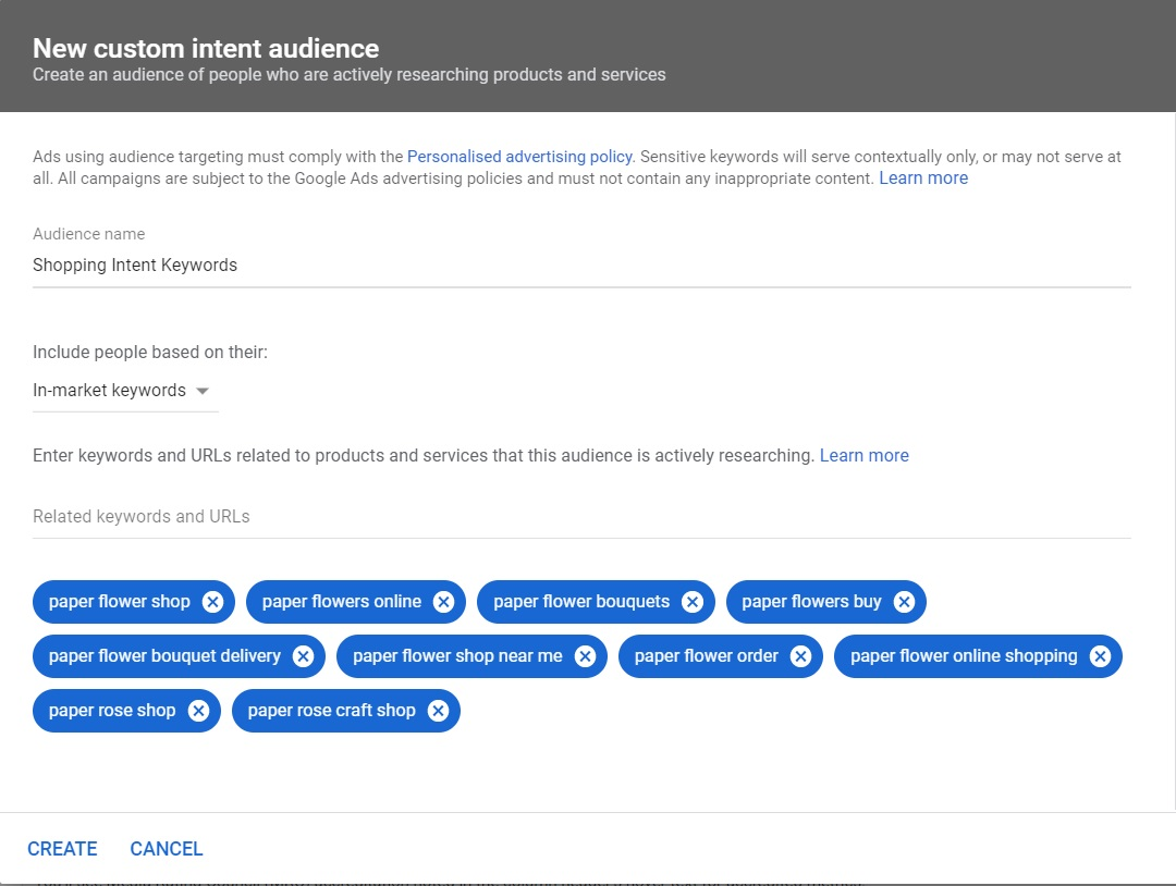 Custom intent audiences - shopping intent