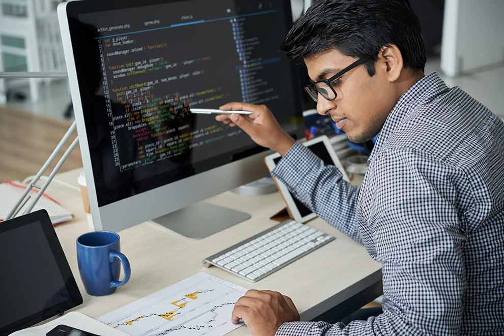 A developer following a website plan