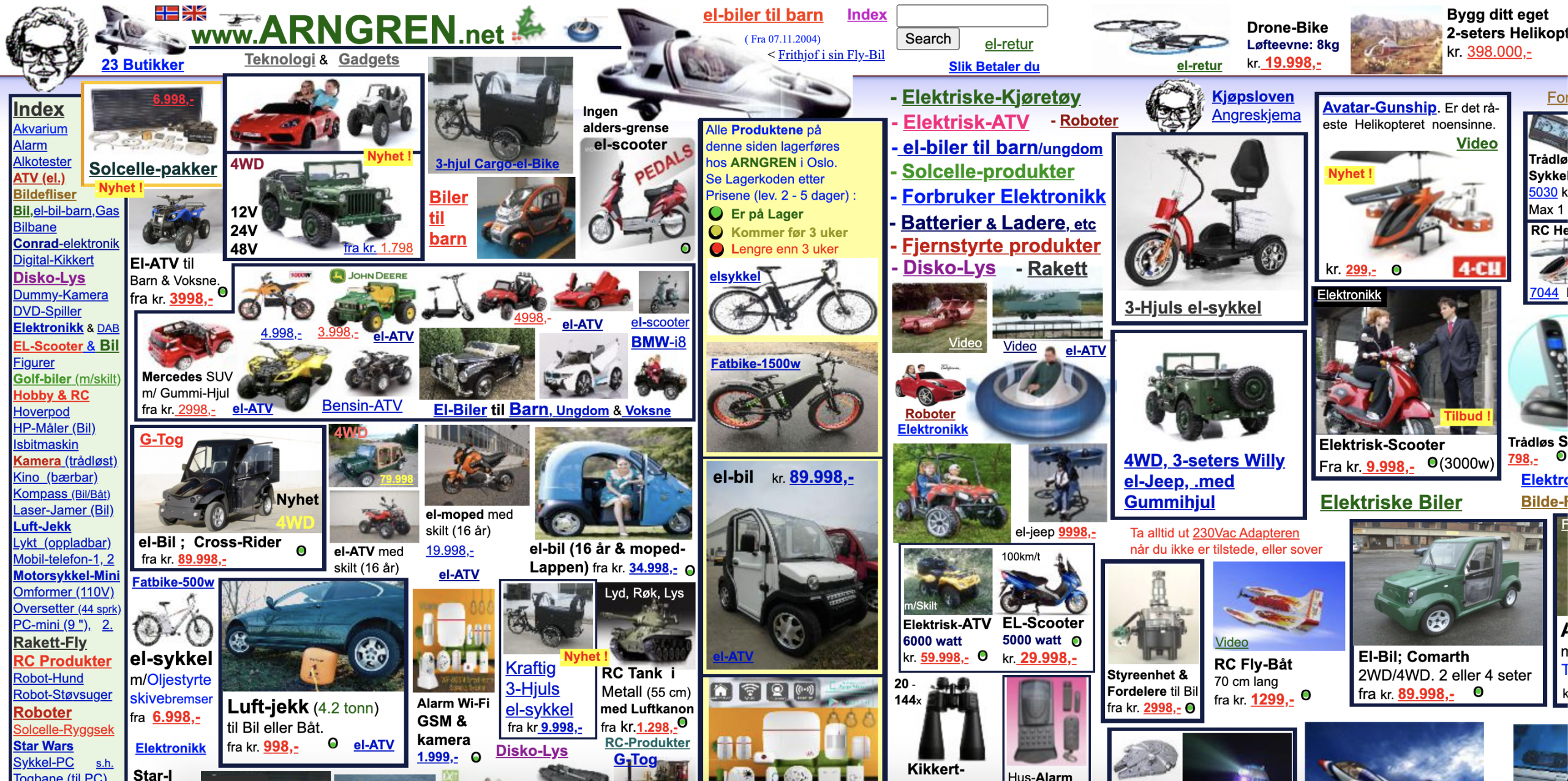Example of a cluttered website