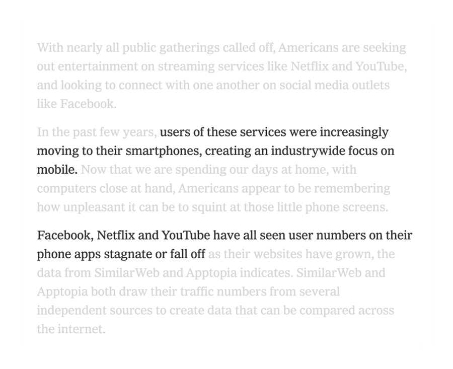 Shopping habits: Screenshot New York Times about streaming movie platforms