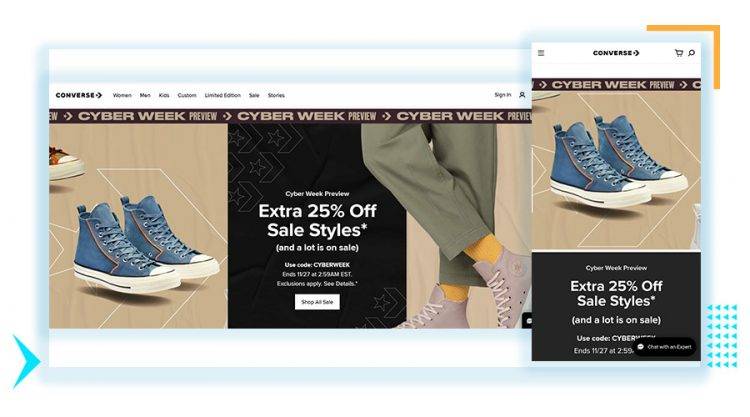 Converse responisve website design desktop and mobile view