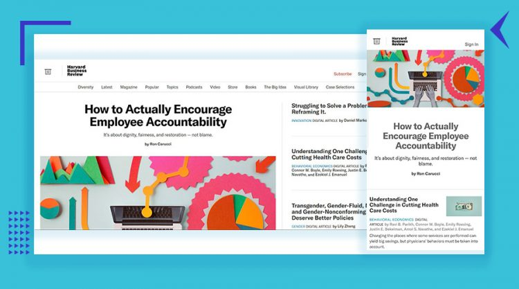 HBR desktop and mobile screenshots to represent responsive design