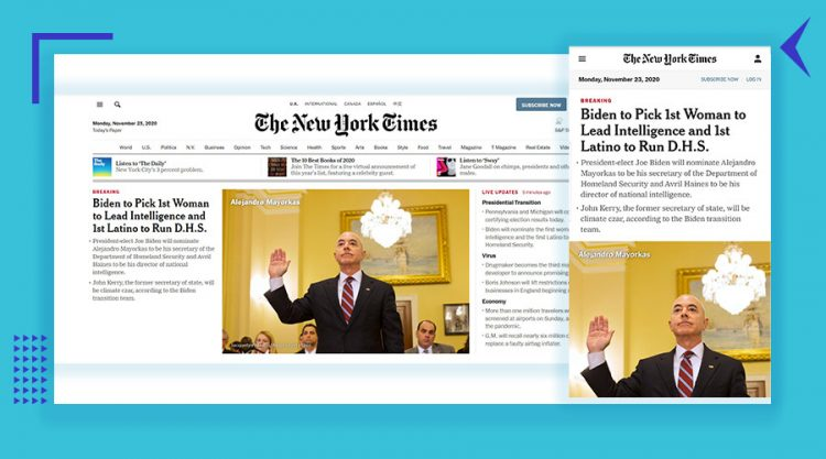The New York Times desktop and mobile home page view as an example of responsive design