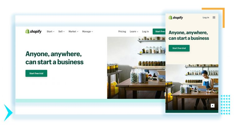 Shopify desktop and mobile screenshots as an example of responsive web design