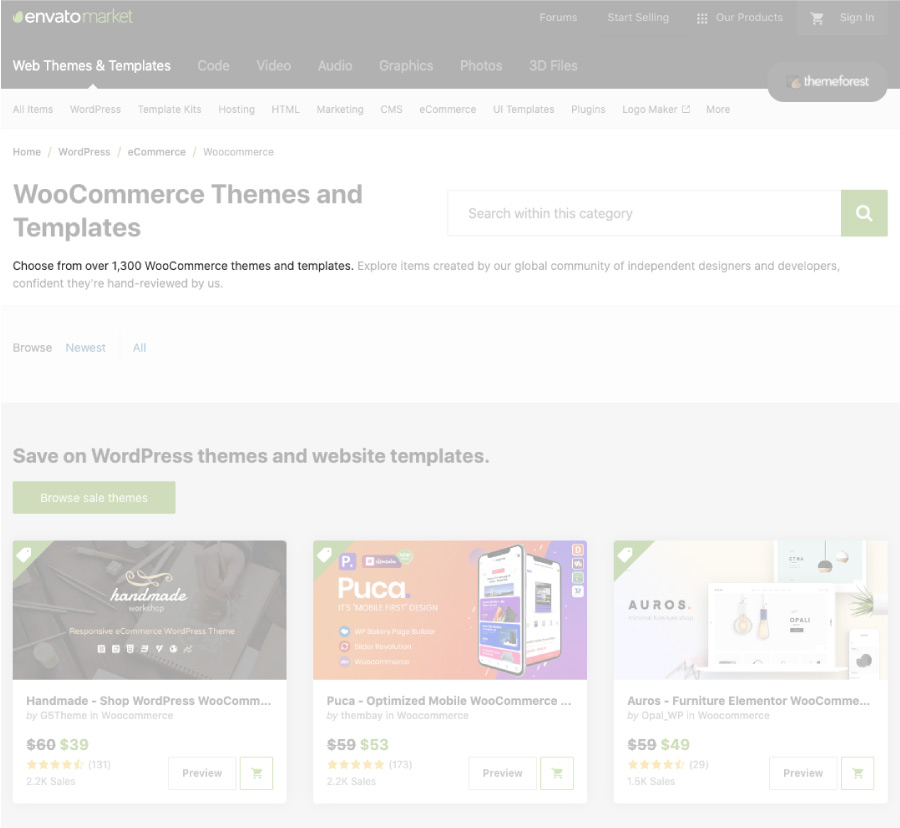 Responsive web design: Screenshot of Theme Forest for WooCommerce