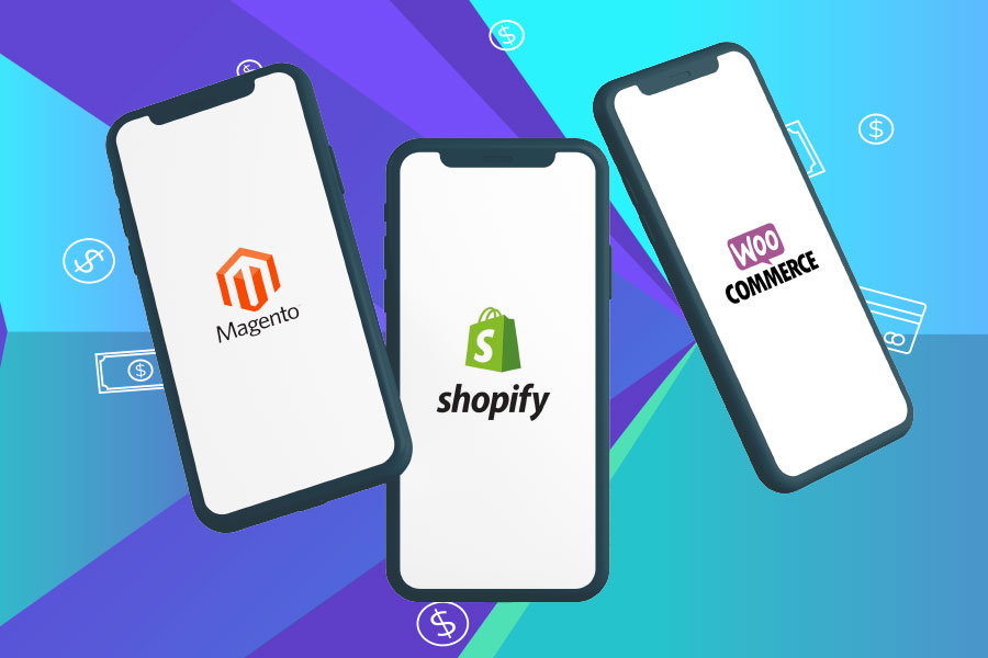 estore illustration with mobile screens for article titled magento vs shopify vs woocommerce