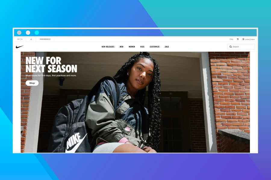eCommerce platforms: Screenshot of Nike Home Page