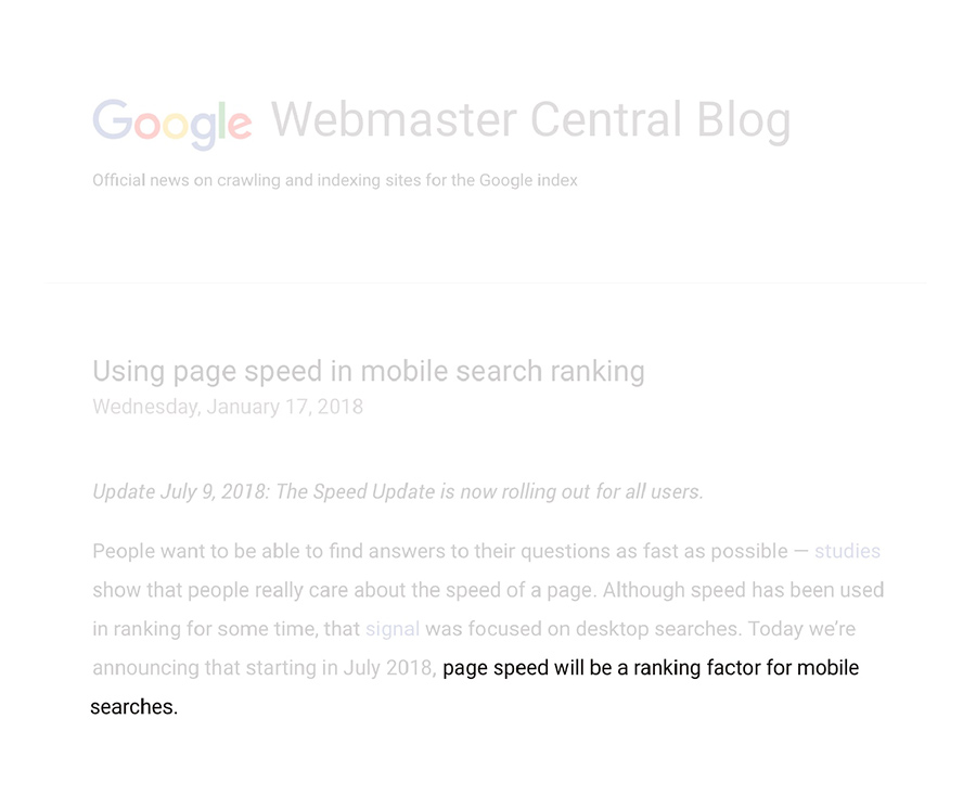 Responsive web design: Google about page speed ranking factor