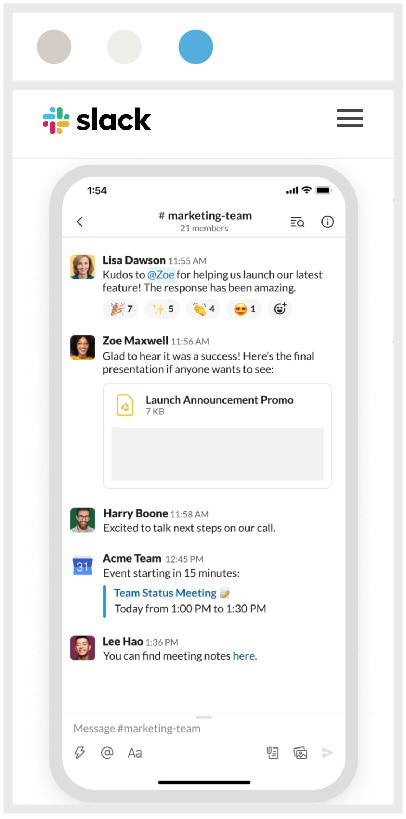 slack mobile view