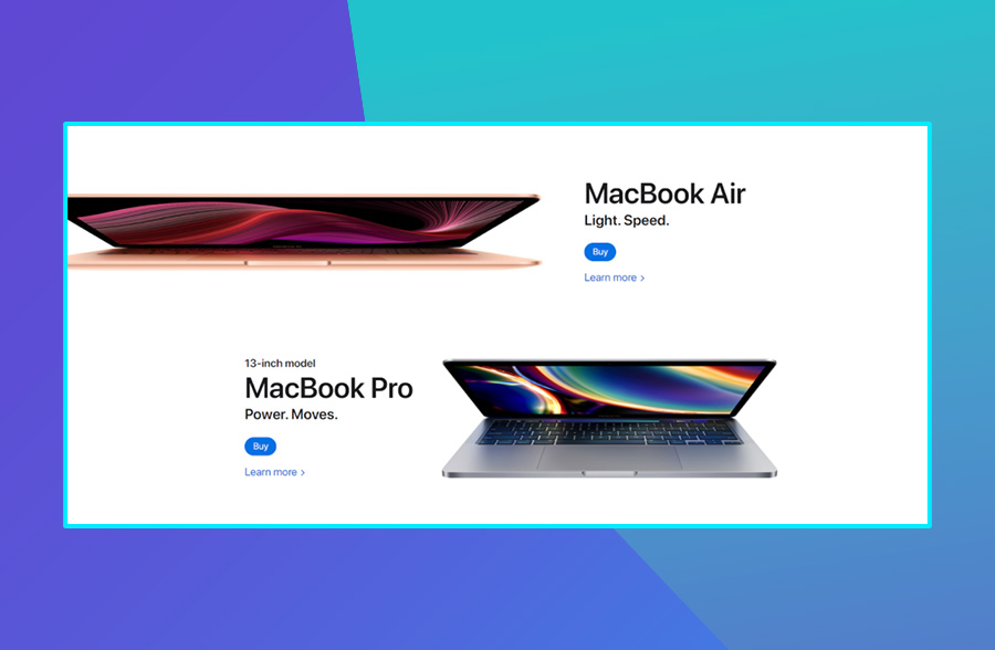 Modern website deisgn: Apple's use of negative space on their website