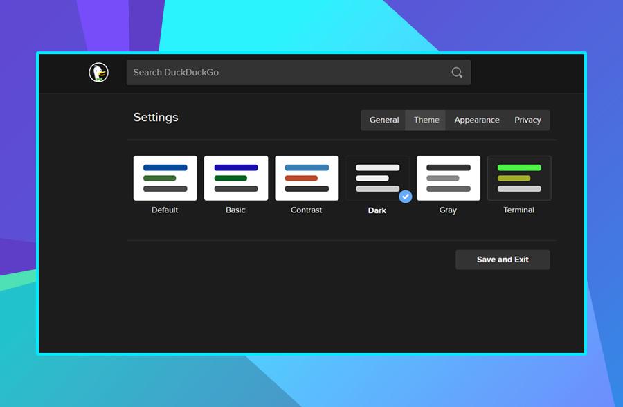 Modern website design: DuckDuckGo's use of dark mode