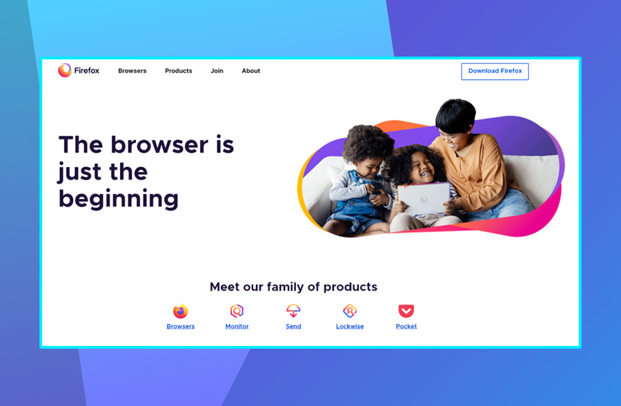 Modern website design: Mozilla's use of negative space on their website