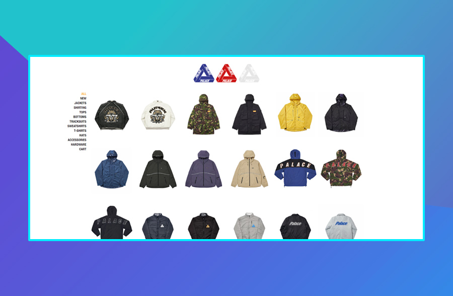 Modern website design: Palace's use of negative space on their website