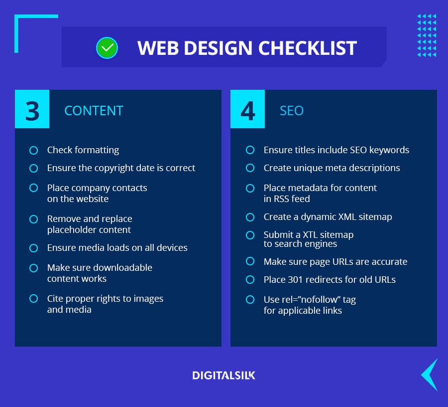 Web Design Checklist items: content and SEO