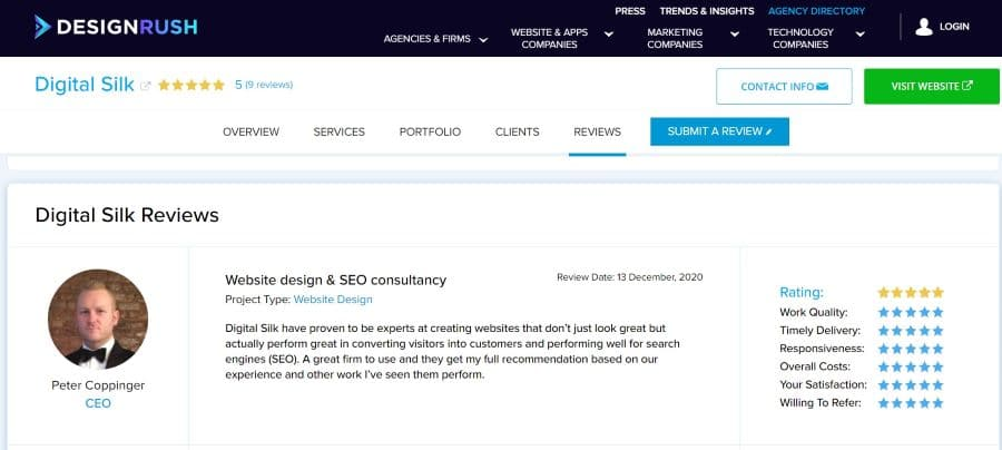 Digital Silk profile on DesignRush screenshot as an example of an agency profile on rating platforms