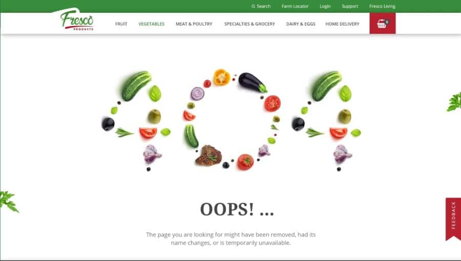 Fresco Products 404 error page design screenshot