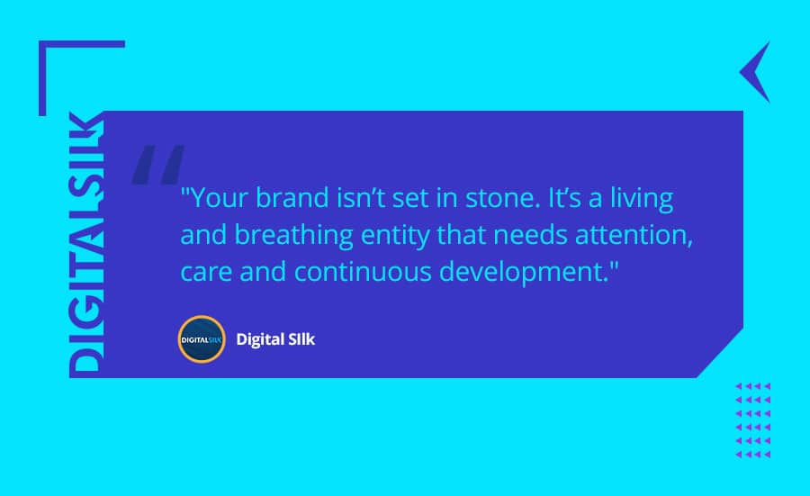 A custom illustartion to feature a sharable quote on how to build a brand