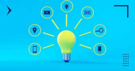 An illustration if icons forming a light bulb to represent various elements of a digital marketing strategy