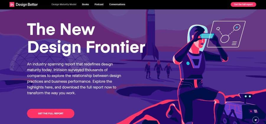 an example of a web landing page with a custom illustration