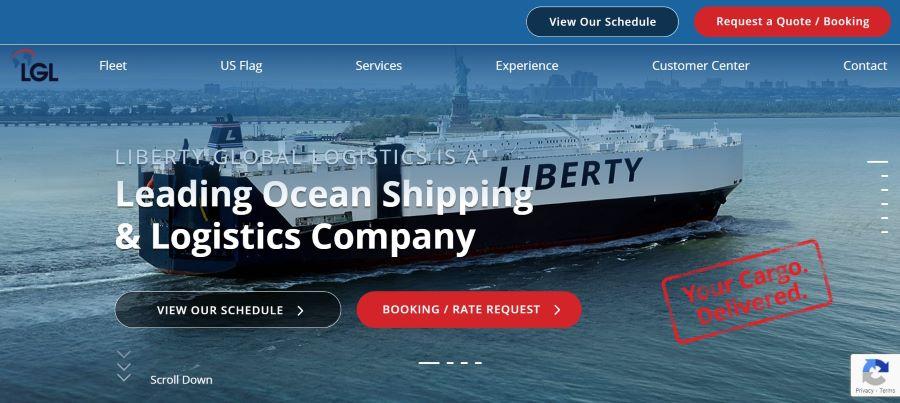 Liberty Global Logistics公司网页设计屏幕截图