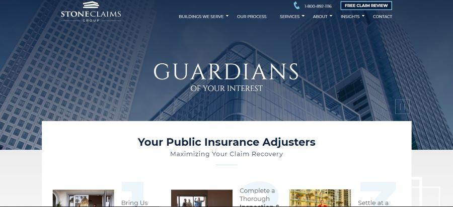 Stone Claims公司网站屏幕截图