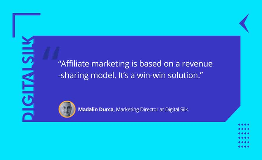 A quote about the revenue-sharing model of affiliate marketing