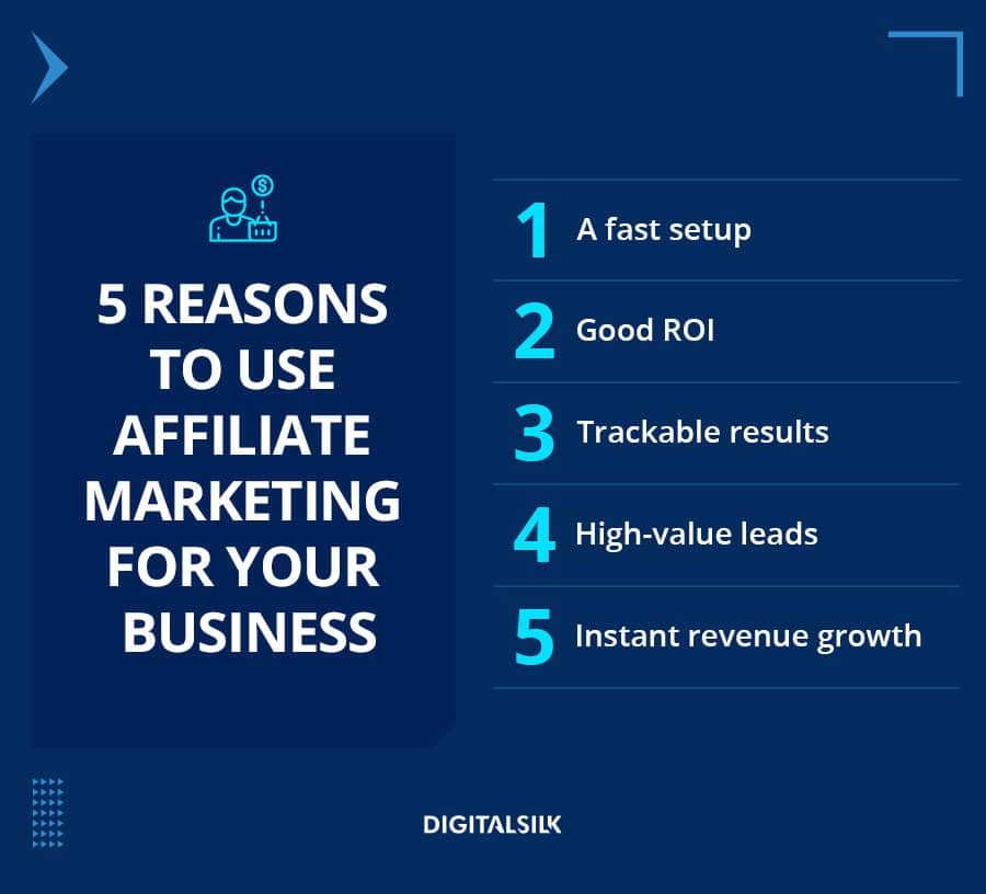 A custom mage to showcase 5 reasons for using affiliatemarketing