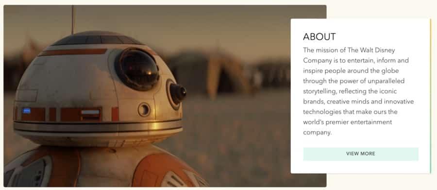 Corporate branding mission statement example: Disney