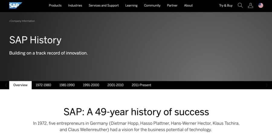 Corporate branding example: SAP