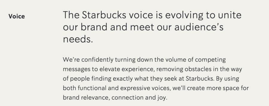 Corporate branding voice example: Starbucks