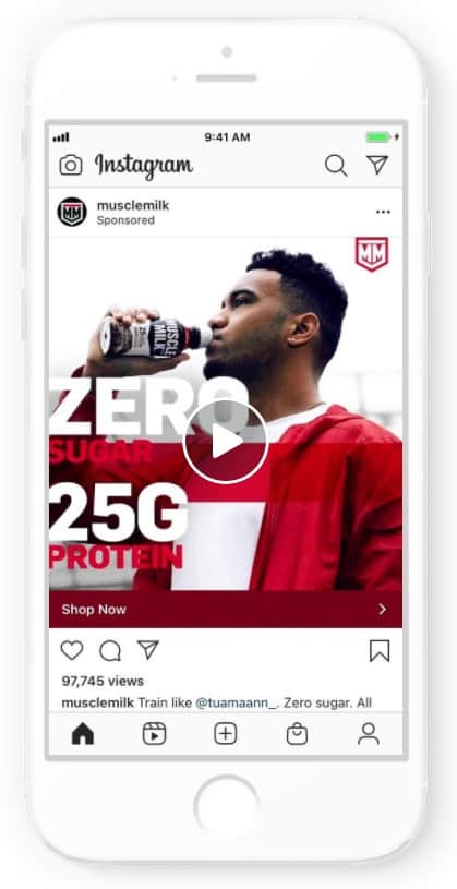 Instagram ad example: Muscle Milk