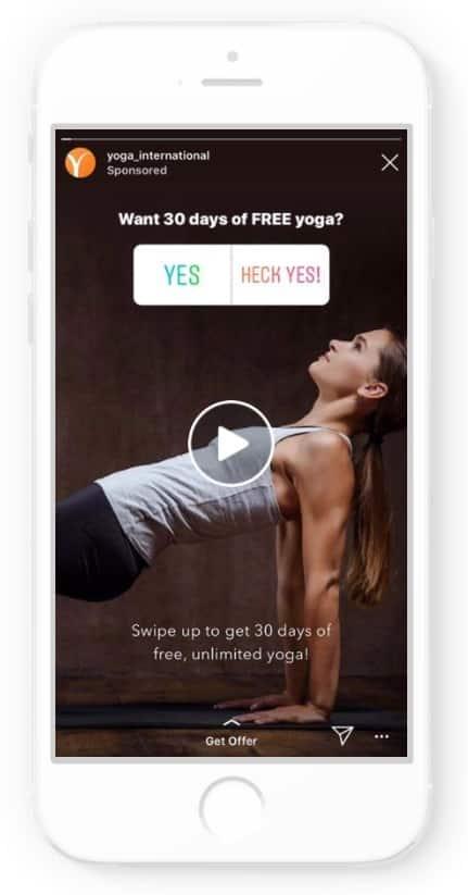 Instagram ad example: Yoga International