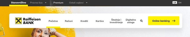 financial web design menu