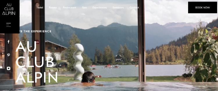 Hotel web design Au Club Alpin home page