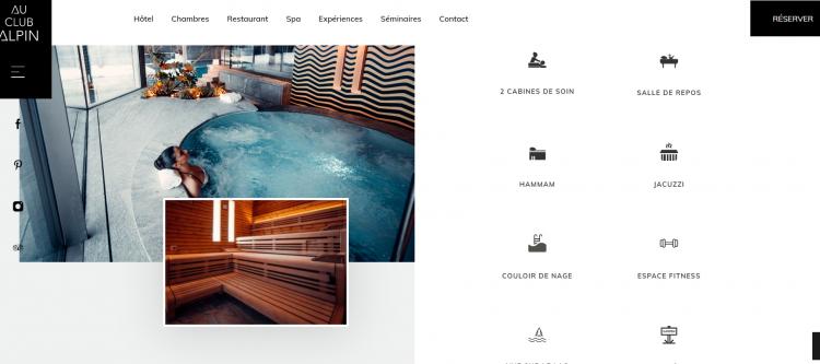 Hotel web design Au Club Alpin iconography