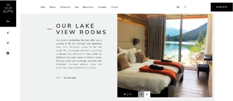 Hotel web design Au Club Alpin paragrpahs
