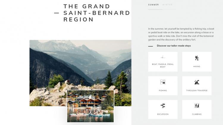 Hotel web design Au Club Alpin seasonal activities
