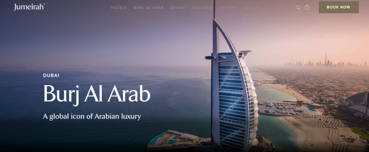 Hotel web design Burj Al Arab website hero image