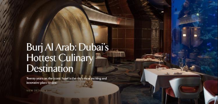 Hotel web design Burj Al Arab text readability