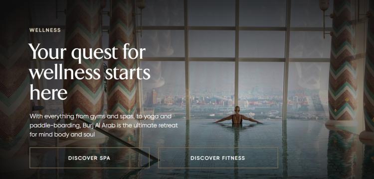 Hotel web design CTA on Burj Al Arab hotel website